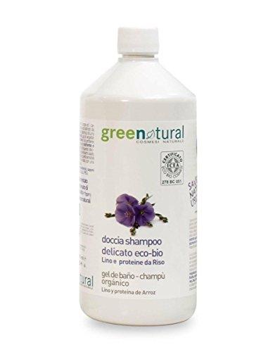 Greenatural doccia shampoo delicato eco-bio lino e proteine del riso 1000ml
