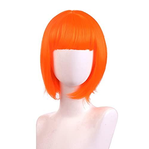 NUWIND Leeloo Parrucca Bob Corta Arancione Vestito operato Accessori per costumi Parrucche per feste Cosplay