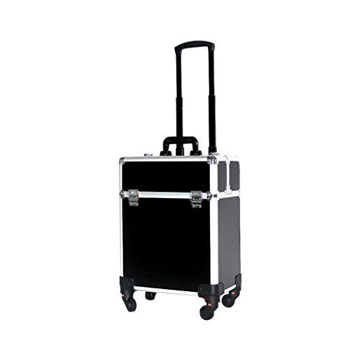 Custodia trolley da trucco, custodia da viaggio da viaggio, piega portatile da trucco da viaggio artista da passeggio Make Up Toolbox (colore : Black+silver)