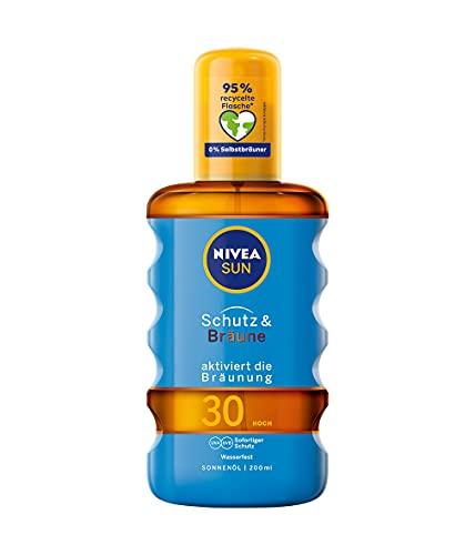 Nivea Sun Olio Spray Solare, fattore di protezione solare 30, flacone spray, protezione e Abbronzatura, 200ML