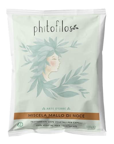 PHITOFILOS - Miscela al Mallo di Noce - Trattamento 100% Vegetale Per Capelli dai Toni Castani - Con Indigofera e Lawsonia - 100 gr