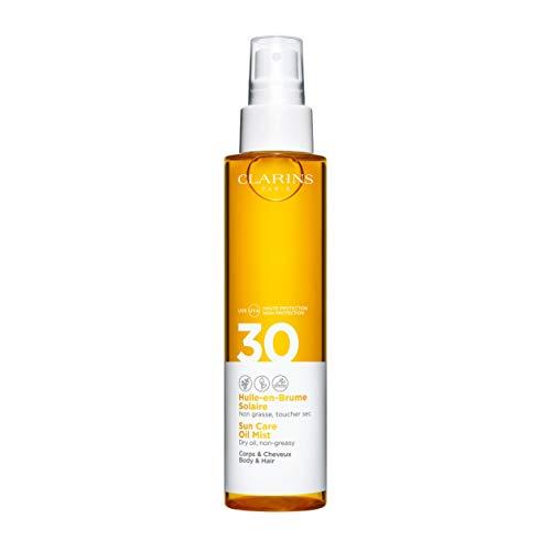 Clarins Spray Olio Protettivo Solare per Corpo e Capelli SPF 30, 150 ml