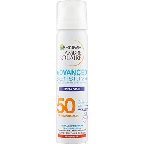 Garnier Ambre Solaire Spray Protezione Solare Viso Advanced Sensitive, Ottimo per Pelli Chiare e Sensibili al Sole, Ipoallergenico, IP50+, 75 ml