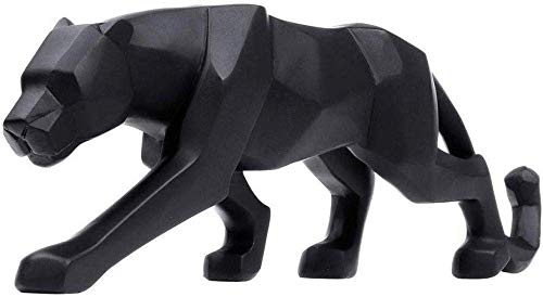 HYBUKDP sculture Figurine Figurine Scultura Black Panther Resina Scultura 26 × 5 × 8Cm Origami Geometrica Leopard Statua Crafts Wildlife Artwork for Soggiorno Tavolo Tatuaggi Statue