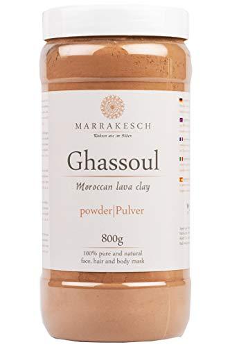 MARRAKESCH Ghassoul Rhassoul Polvere 800g | Maschera viso di argilla originale marocchina per la pulizia del viso | Peeling naturale per viso pelle e capelli | Argilla per la cura del corpo
