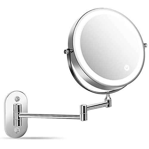 alvorog Specchio Cosmetico da Parete Specchio Trucco con Luce LED e Ingrandimento 1X / 5X,Specchio da barba Rotazione a 360°, Pieghevole,Spegnimento Automatico per Bagno, Toletta, Hotel - Cromato