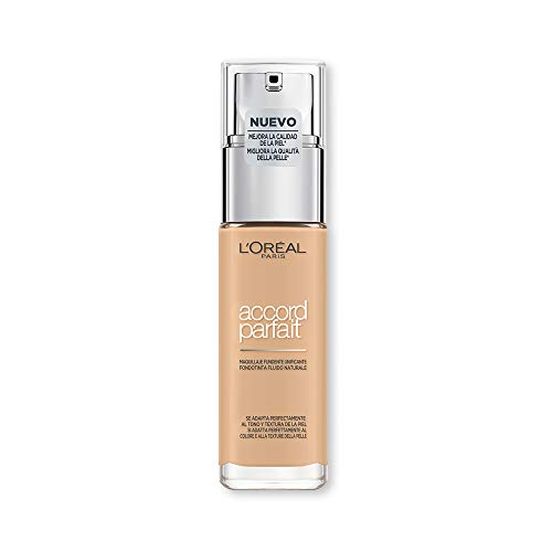 L'Oréal Paris MakeUp Fondotinta Lunga Tenuta Accord Parfait, Effetto Naturale, Arricchito con Acido Ialuronico, Beige Creme/Creamy Beige (3.N), 30 ml