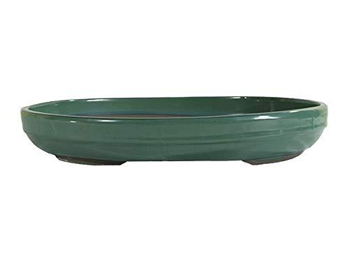 Vaso per bonsai Giapponese Morrisan ovale in gres smaltato verde 38,5x29,5x5 cm - B00-17b
