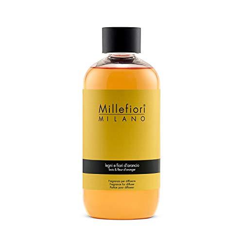 Millefiori Milano Ricarica per Diffusore di Aromi per Ambiente, Fragranza, Legni e Fiori D'arancio, 250 ml