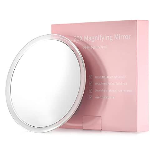 20X Ingranditore Specchio con 3 ventose di montaggio - Utilizzare per specchio per il trucco - Cogliere le sopracciglia - Pinzare - Rimozione dei punti neri - Perfetto per viaggi e casa - 15cm rotondo