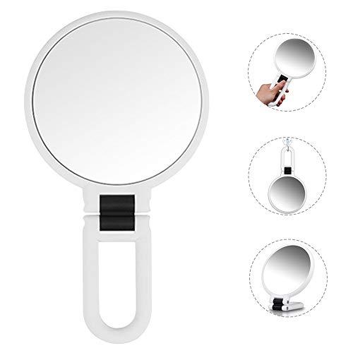 Specchio Trucco Bifacciale Ingranditore 5X/1X Specchio Cosmetico Specchio a Mano con Manico Pieghevole Specchio da Viaggio Portatile Sospeso Specchio da Tavolo Hand Held Mirror Tondo Piccolo (Bianco)