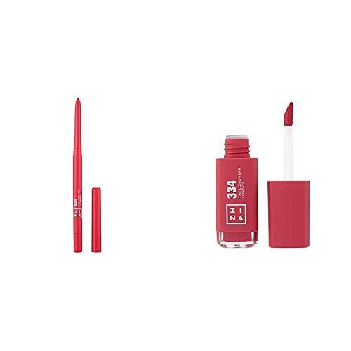 3ina MAKEUP - TRUCCO CRUELTY FREE - Vegan - Set The Automatic Lip Pencil + The Longwear Lipstick 334 - Matita Labbra Retrattile a Lunga Durata - Waterproof- Temperino e Pennellino Integrato- Rosa vivo