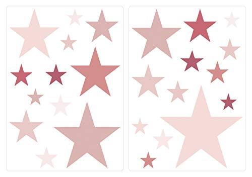dekodino® Adesivo murale stelline rosa scuro camera ragazzo decoro set