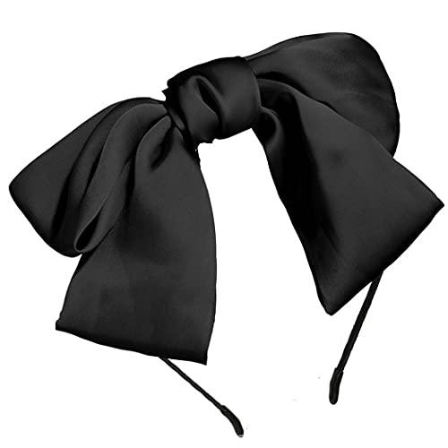 Runmi - Fascia per capelli in stile vintage, con fiocco a farfalla, accessorio per capelli per donne e ragazze (nero)