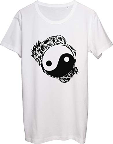 T-shirt da uomo con gatto e cane Yin e Yang tatuaggio bnft bianco L
