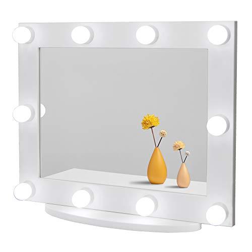 Waneway Specchio Trucco con Luci per Make up, Grande Specchio Hollywood Professionale Illuminato con 10 Lampadine LED Luminoso e Dimmerabili per Toeletta, Multiple modalità di Colore, Bianco