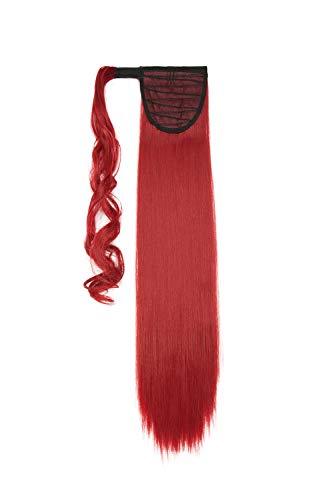 Hair Extensions Wrap on Ponytail Extension Capelli Veri Coda di Cavallo Parrucchino Ombre 66cm Dritto Rosso scuro