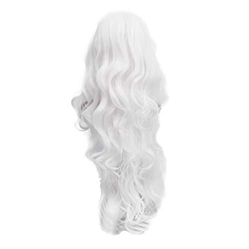 Frcolor - Parrucca con capelli ricci e ondulati, 80 cm, colore: Bianco