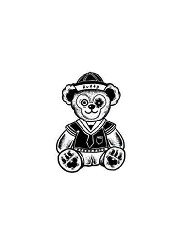 Adesivo per tatuaggio con motivo autunnale, con orsetto di viola, motivo a forma di orsetto