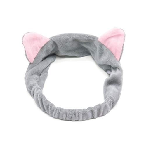 Haobase Fascia per capelli con orecchie di gatto, ideale per il lavaggio del viso e la rimozione del trucco