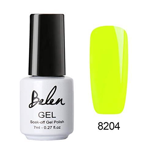 Belen Smalto per Unghie Smalto per Colore Fluorescente Smalto Semipermanente UV LED Gel Polish Nail Art 7ml,YGJ*8204