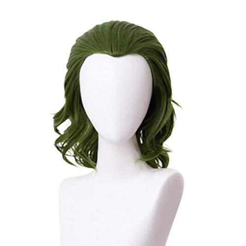 Liana Irwin Parrucca da Joker, capelli corti mossi, per cosplay, da adulto, colore verde
