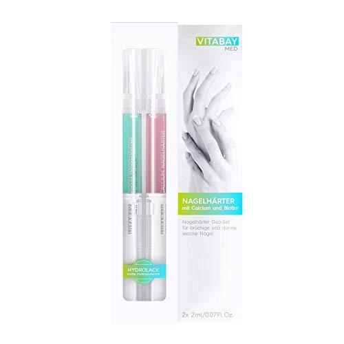 Vitabay Indurente per Unghie Dual-set (2x2ml) • Penna riparatrice con Calcio e Biotina • Contro Unghie Fragili, Screpolate e Morbide