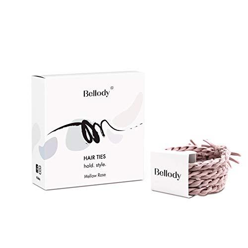 Bellody® Original elastici per capelli- Eleganti elastici intrecciati a tenuta sicura (4 pezzi - Mellow Rose)