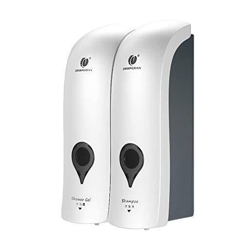 Decdeal 300ML x2 Manuale Dispenser di Sapone,CHUANGDIAN Bagno Doccia Gel Shampoo Liquido Disinfettante Distributore di Dispenser,Senza Foratura