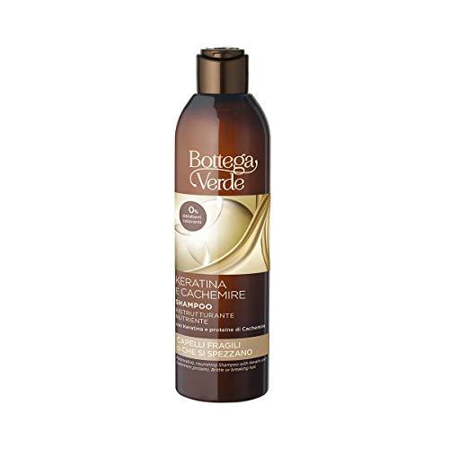 Bottega Verde, Keratina e Cachemire - Shampoo ristrutturante nutriente - con Keratina e proteine di Cachemire (250 ml) - capelli fragili o che si spezzano