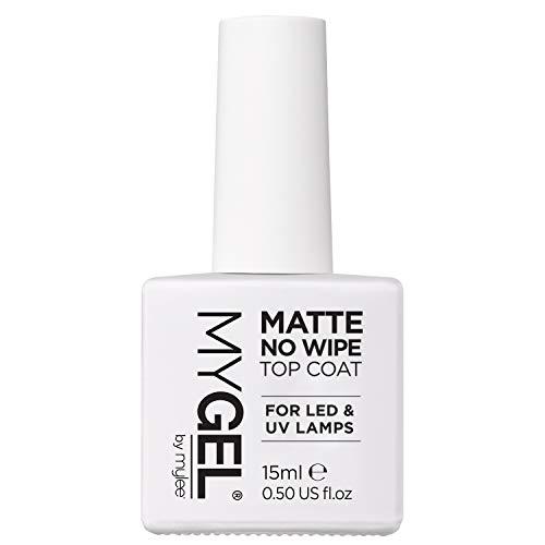 Mylee Matte No Wipe Clear Top Coat per gel UV LED Nail Soak Off Polish 15ml - Finitura facile e veloce per unghie naturali, estensioni acriliche e punte - Pedicure professionale per manicure