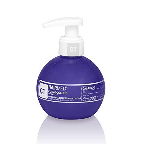 HAIRMED - Cura e Colore - Maschera Riflessante Capelli - Bagno di Colore Senza Ammoniaca - Gloss C1 - Ghiaccio - 200 ml