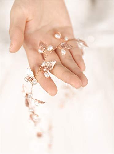 Copricapo da sposa Bride fatta a mano foglia perla fascia copricapo copricapo nozze rosa oro vite da sposa con accessori for capelli da sposa per la sposa damigella d'onore ( Color : Pink )