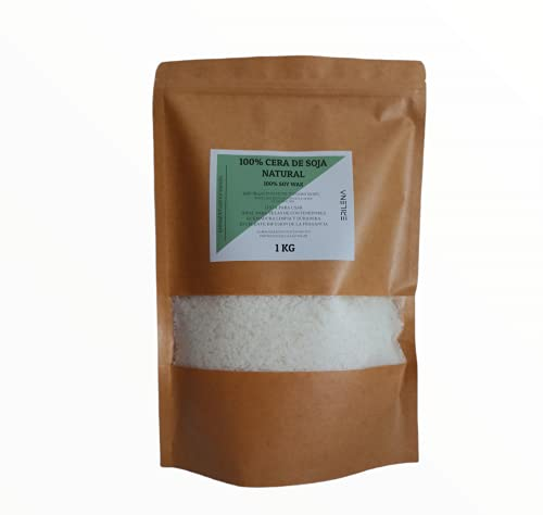 ERILENA Cera di soia 100% naturale (1 kg) in scame, qualità superiore, cera di soia naturale ecologica per realizzare candele, prodotta in Spagna, cera naturale