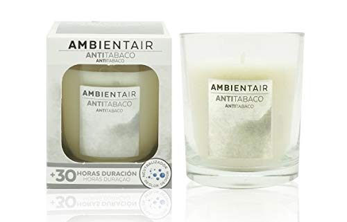 Ambientair. Candela profumata antifumo. Candela profumata con cera vegetale e aroma naturale con una durata stimata di 30 ore. Godetevi l'aromaterapia in casa vostra con questa candela.