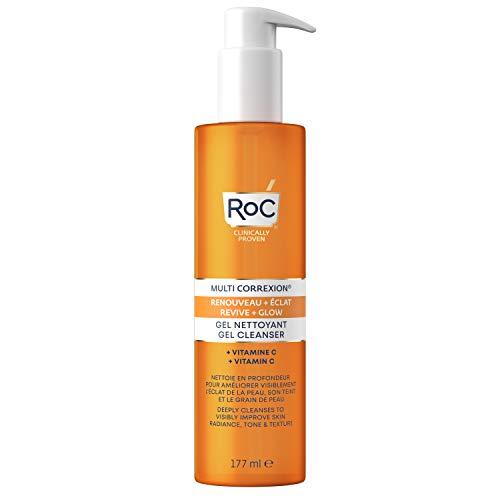 RoC - MULTI CORREXION Revive + Gel detergente Glow Cream - Detergente rinvigorente per il viso - Vitamina C - Rinforza la luminosità della pelle - 177 ml