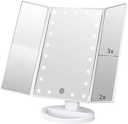 Specchio Trucco,Flymiro Specchio per Il Trucco con Luce 1x / 2X / 3X Trifold ingrandente 21 LED Touch Screen, Regolabile a 180° Specchio cosmetico per Il Trucco per viaggio(Bianco)