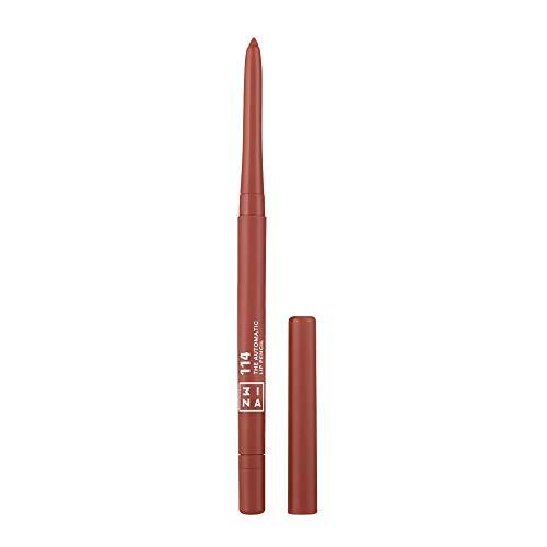 3INA MAKEUP - Cruelty Free - Vegano - The Automatic Lip Pencil 114 - Matita Labbra Retrattile a Lunga Durata - Waterproof - con Pennellino Integrato - Marrone Chiaro