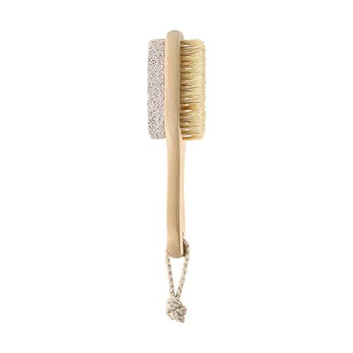 HEALIFTY spazzola per lima per piedi in setola naturale spazzola per pietra pomice rimuovi callo per pelle morta con manico in legno