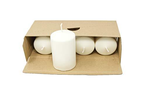 Set di candele a colonna naturali senza profumo di cera naturale senza paraffina, candele bianche naturali, in plastica, in scatola kraft (confezione da 4 candele a colonna, 60 mm x 90 mm)