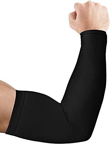 Ancokig Manicotto Braccio UV UPF 50 Protezione Maniche di Ghiaccio Raffreddamento moderato Sport all'aperto Guidare Guanti protettivi Coprire Il Tatuaggio Donna Uomo (Nero-1Paia)