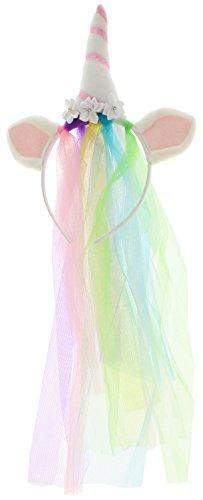 Cerchietto per capelli con velo arcobaleno e unicorno bianco/rosa