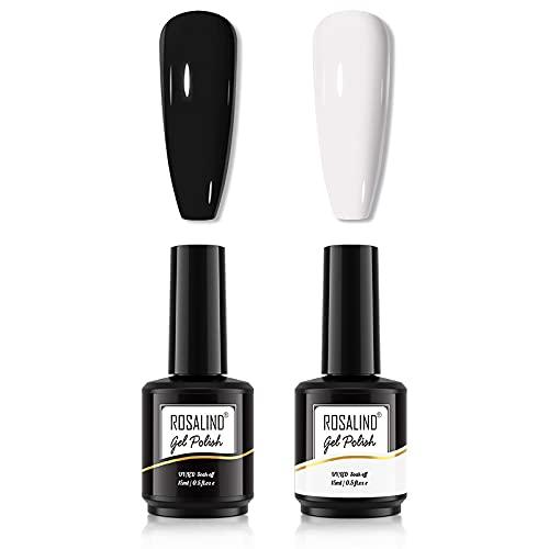 ROSALIND Smalto Semipermanente per Unghie Nero Bianco 15ml Set di Smalti Gel gel Semipermanente Unghie Gel Polish Manicure Nail Art Kit 2PCS