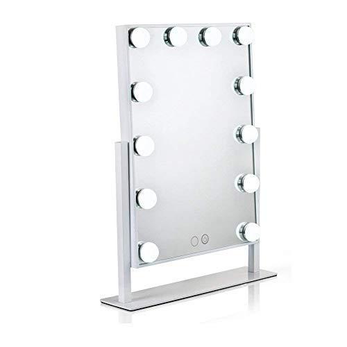 Waneway Hollywood specchio trucco illuminato con lampadine LED dimmerabili e design touch-control, Specchio cosmetico luminoso per il trucco da tavolo con luci LED, bianca