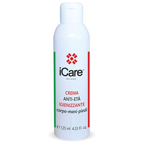 iCare Crema Anti-Età Igienizzante per Corpo, Mani e Piedi - Antiossidante - Idratante - Emolliente - Previene l'Invecchiamento Cutaneo 125ml