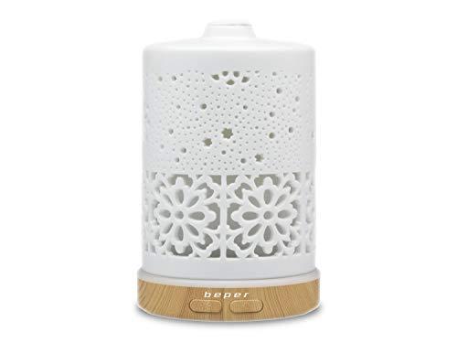 Beper 70.404 – Diffusore di Essenze in Ceramica, Nebulizzatore a Ultrasuoni, Luce Led di 7 Colori, Tasto per la Fuoriuscita del Vapore e per la Selezione dei Colori, Design Elegante, Funzionamento USB