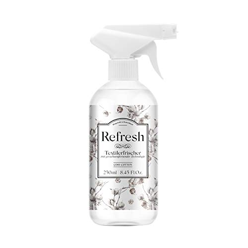 Refresh Deodorante Spray per Tessuti 250ml • con Ricinoleato di Zinco • Rimuove gli Odori in modo Naturale • Profumo di Cotone • Non Macchia