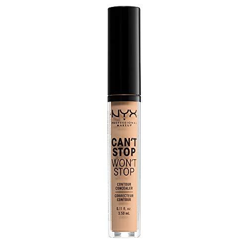 NYX Professional Makeup Correttore Can't Stop Won't Stop, Correttore Viso Liquido, Adatto a Tutti gli Incarnati, Natural, Confezione da 1