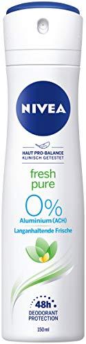 Nivea Fresh Pure Deo Spray (150 ml), deodorante rinfrescante senza alluminio (ACH), deodorante nutriente per 48 ore con protezione antibatterica