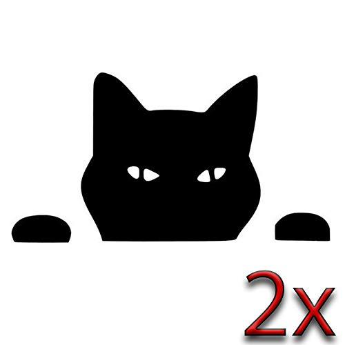 Leon, pellicola adesiva per auto, 2 pezzi, 14 x 7 cm, motivo: gatto, testa di gatto e zampe, colore nero